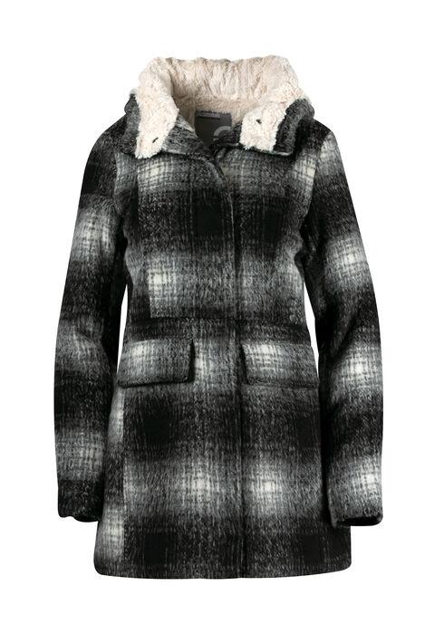 Ladies' Plus Size Hooded Plaid Jacket, BLK/WHT, hi-res