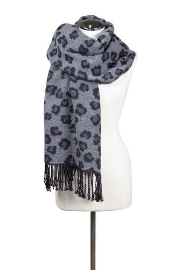 Women's Leopard Blanket Scarf, GREY, hi-res