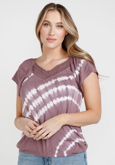 Women's Tie Dye Peasant Top, PURPLE, hi-res