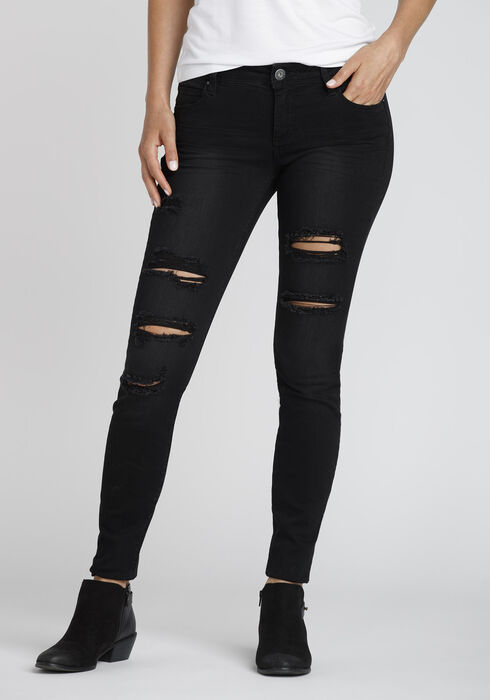 Ladies' Black Destroyed Skinny Jeans, BLACK, hi-res