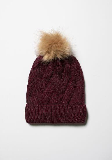 Women's Knit Hat, BURGUNDY, hi-res
