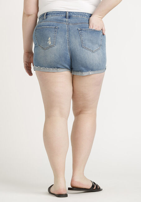 Women's High Rise Plus Exposed Button Fly Destroyed Cuffed Short, MEDIUM WASH, hi-res