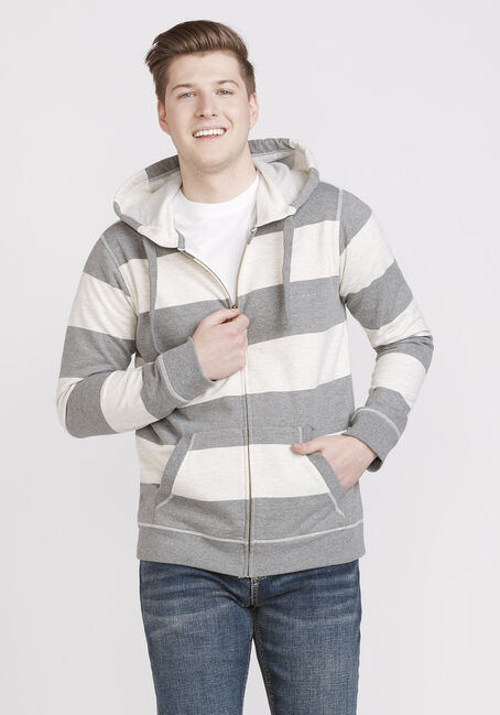 Men's Striped Zip Up Hoodie, GREY, hi-res