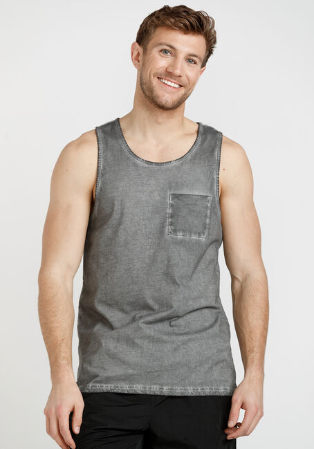 Men's Dirty Wash Solid Tank