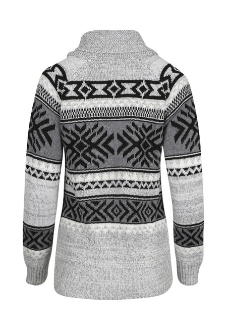 Ladies' Aztec Cardigan, LIGHT GREY COMBO, hi-res