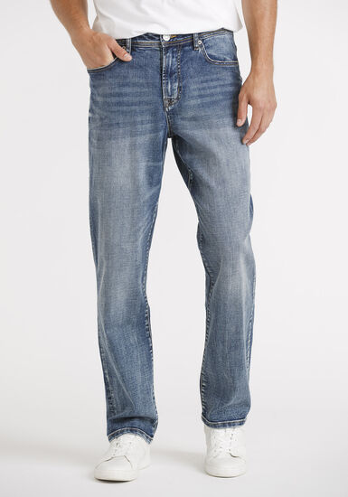 Men's Medium Blue Slim Straight Jeans, LIGHT WASH, hi-res