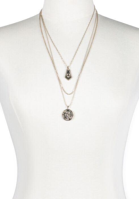 Ladies' Layered Coin Necklace, GOLD, hi-res