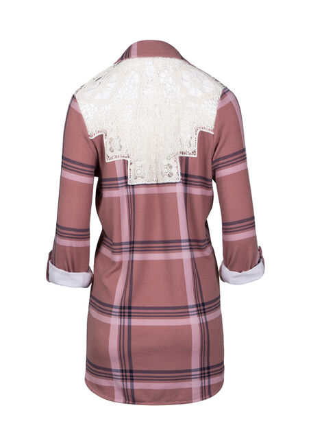 Women's Knit Plaid Cardigan, PINK, hi-res