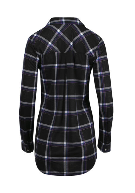 Women's Lace Up Knit Plaid Shirt, BLACK, hi-res