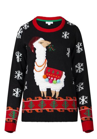 Women's Llama Holiday Sweater, BLACK, hi-res