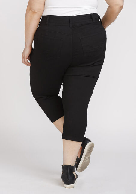 Women's Plus Size Black Skinny Capri, BLACK, hi-res
