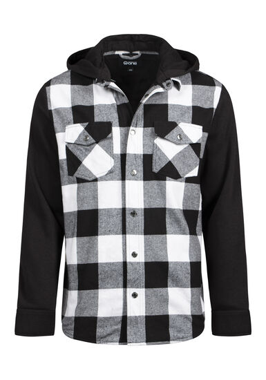 Men's Hooded Plaid Shirt Jacket, BLK/WHT, hi-res