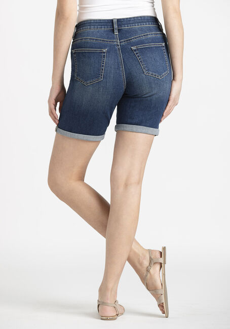 Women's Slim Bermuda Cuffed Short, DARK WASH, hi-res