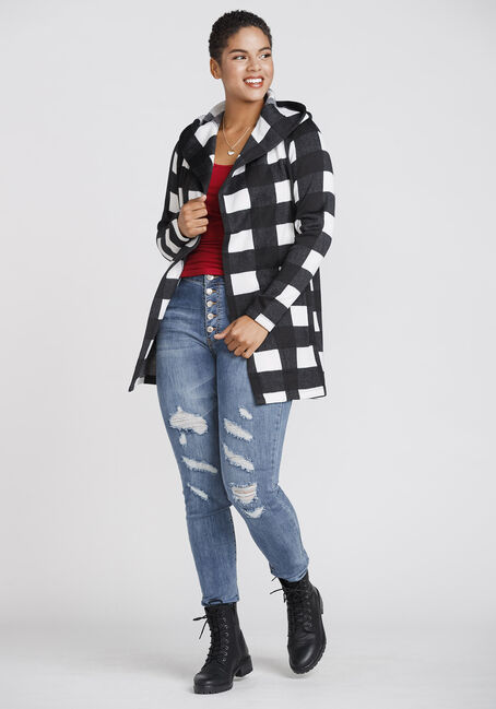 Women's Buffalo Plaid Hooded Cardigan, BLK/WHT, hi-res