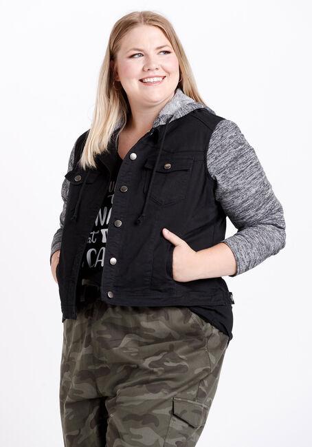 Women's Knit Sleeve Black Jean Jacket