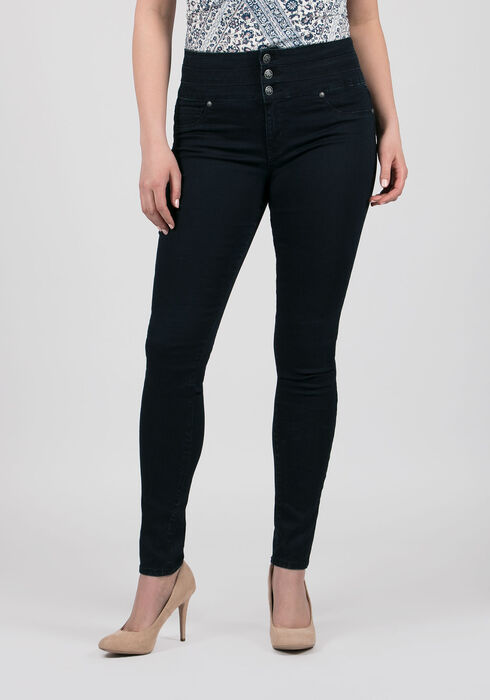 Ladies' Retro Hi-Rise Skinny Jeans, DARK WASH, hi-res