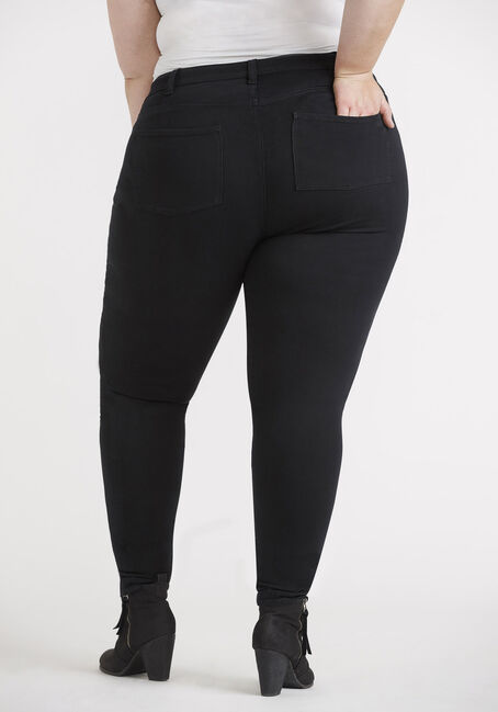 Women's Plus 5 Pocket Black Skinny, BLACK, hi-res