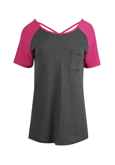 Ladies' Cage Back Baseball Tee, CHARCOAL/ROSE, hi-res