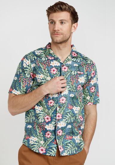 Men's Distortion Floral Shirt, BLUE, hi-res