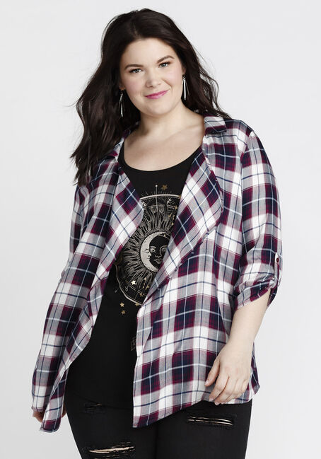 Women's Plaid Cardigan, PURPLE, hi-res