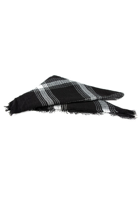 Women's Plaid Blanket Scarf, BLK/WHT, hi-res