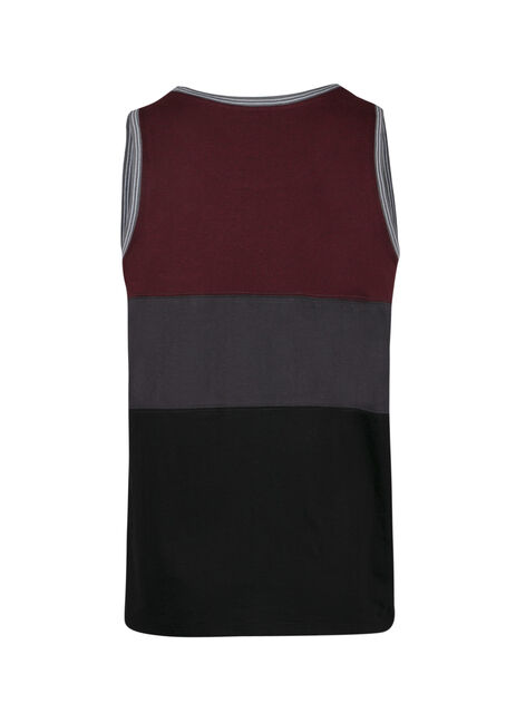 Men's Colour Block Tank, RAISIN, hi-res