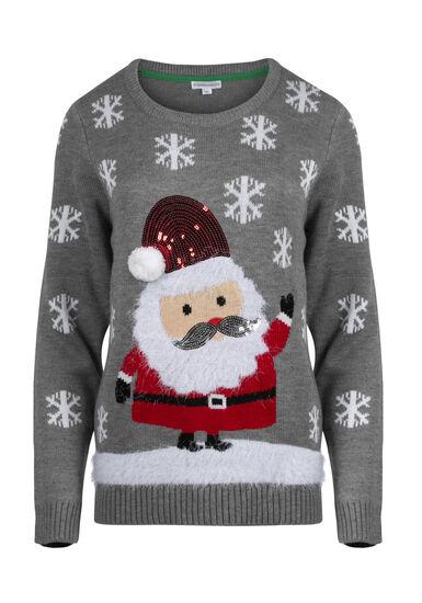 Women's Santa Sweater, GREY, hi-res