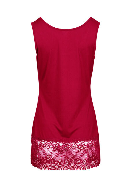 Women's Lace Trim Tunic Tank, CRIMSON, hi-res
