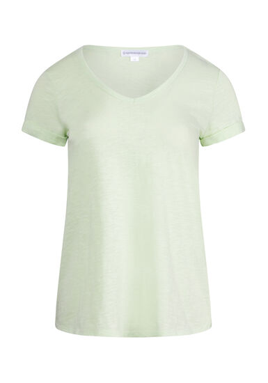 Women's Cuffed V-Neck Tee, LIME, hi-res