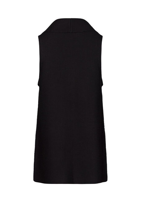 Women's Shawl Collar Vest, BLACK, hi-res
