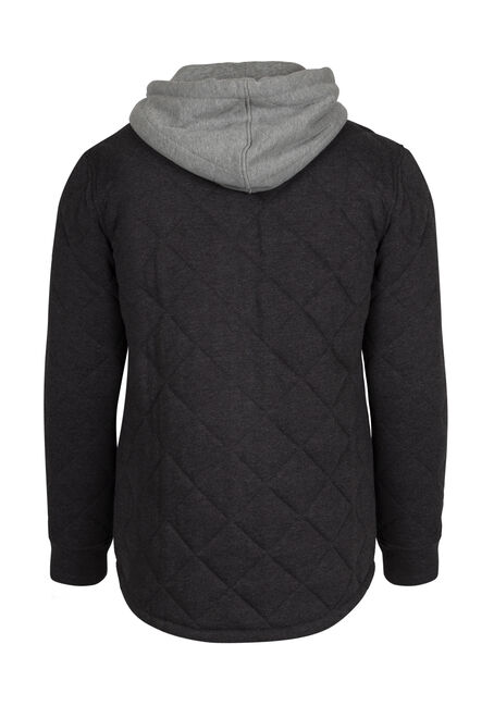 Men's Quilted Shirt Jacket, CHARCOAL, hi-res