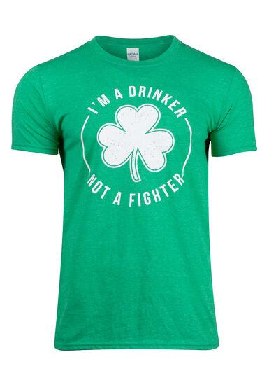 Men's Drinker Not A Fighter Tee, HEATHER IRISH GREEN, hi-res