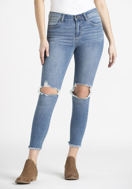 Women's Knee Hole Crop Skinny Jeans
