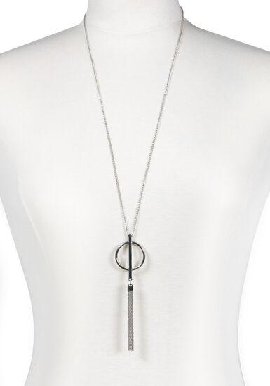 Women's Tassel Necklace, SILVER, hi-res