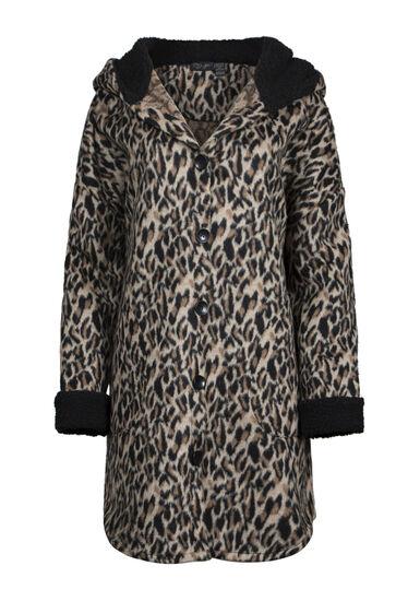 Women's Leopard Print Coat, BROWN, hi-res