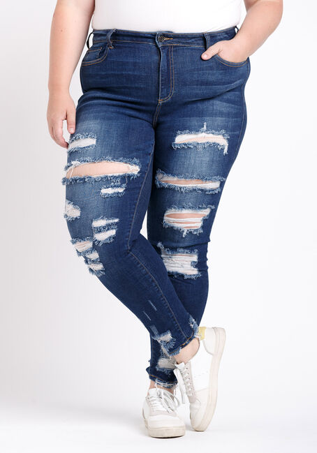 Women's Plus Size Distress Ankle Skinny Jeans