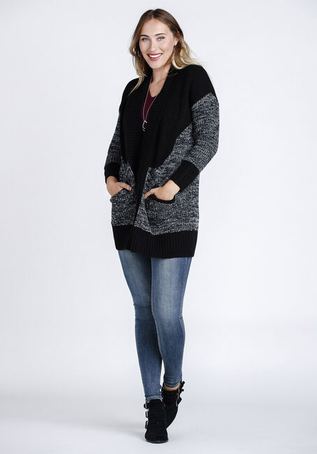 Women's Colour Block Cardigan, BLK/WHT, hi-res