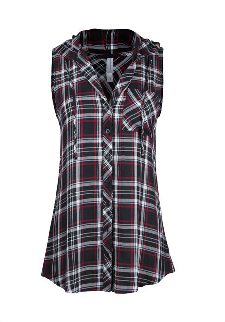 Ladies' Hooded Plaid Shirt