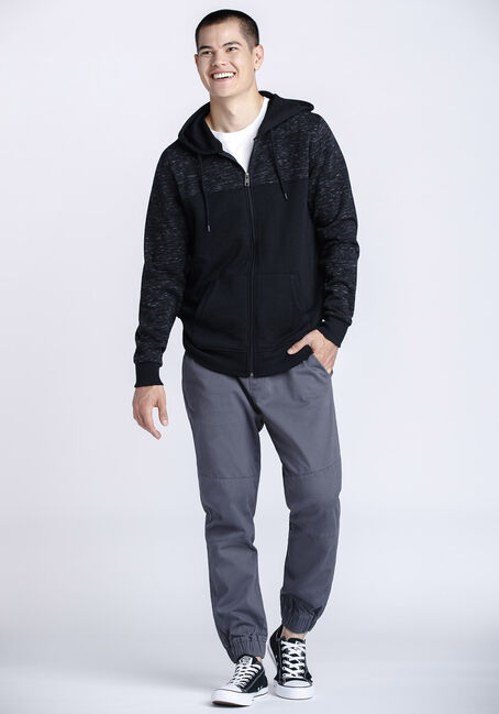 Men's Colour Block Zip Front Hoodie, CHARCOAL, hi-res