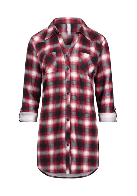 Women's Knit Plaid Tunic Shirt