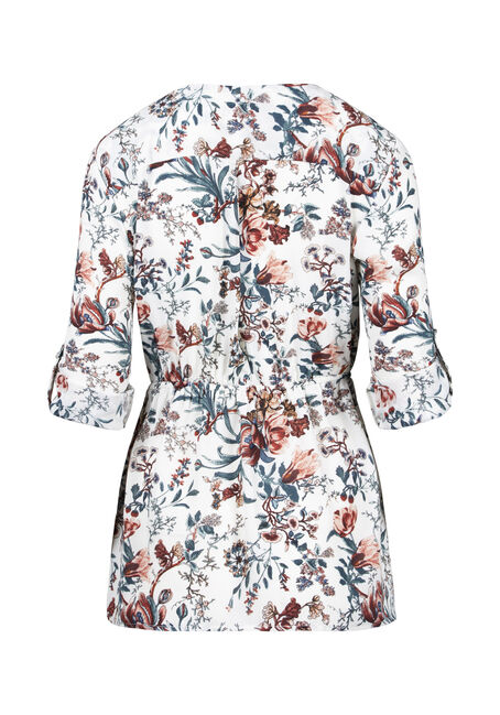 Women's Floral Zip Front Blouse, WINTER WHITE, hi-res
