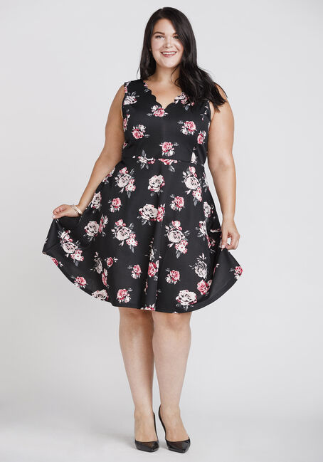 Women's Floral Fit & Flare Dress, BLACK, hi-res