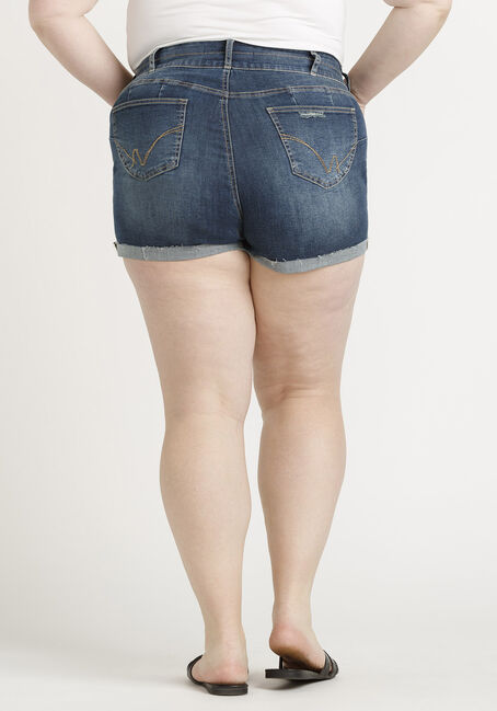 Women's Plus 2 Button Destroyed Cuffed Short, DARK WASH, hi-res