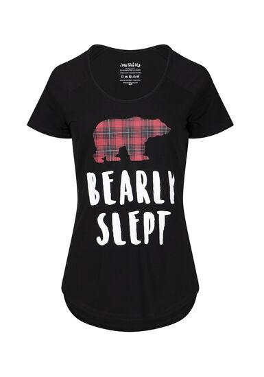 Women's Bearly Slept Sleep Tee, BLACK, hi-res