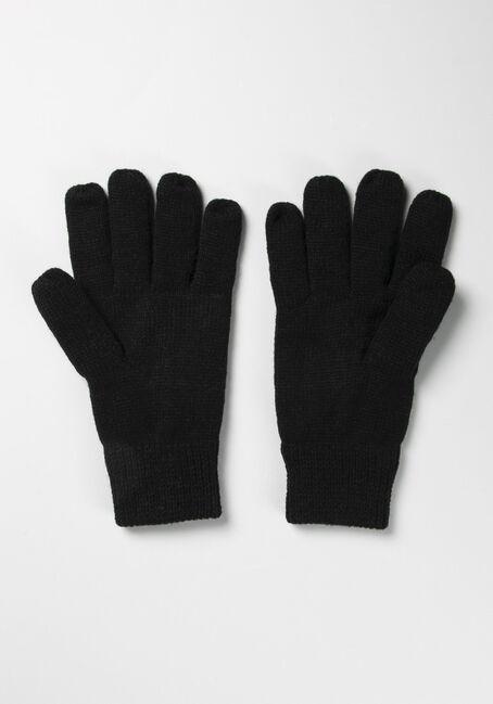 Men's Fleece Lined Gloves, BLACK, hi-res