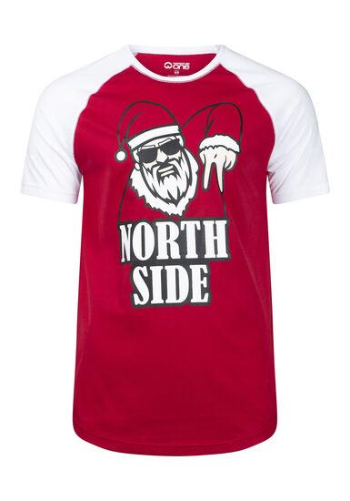 Men's Santa Tee, RED, hi-res