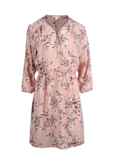 Women's Blossom Cold Shoulder Shirt Dress, ROSE QUARTZ FLRL, hi-res