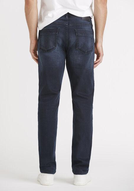Men's Black Blue Relaxed Slim Jeans, DARK WASH, hi-res
