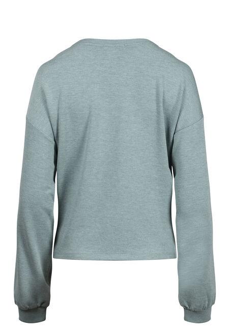 Women's Knot Front Sweatshirt, SAGE, hi-res