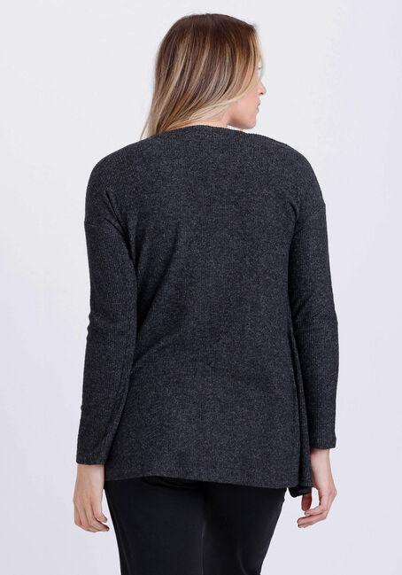 Women's Rib Knit Cardigan, CHARCOAL, hi-res